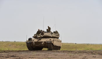 An Israeli tank unit in the Golan Heights, July 22, 2019.