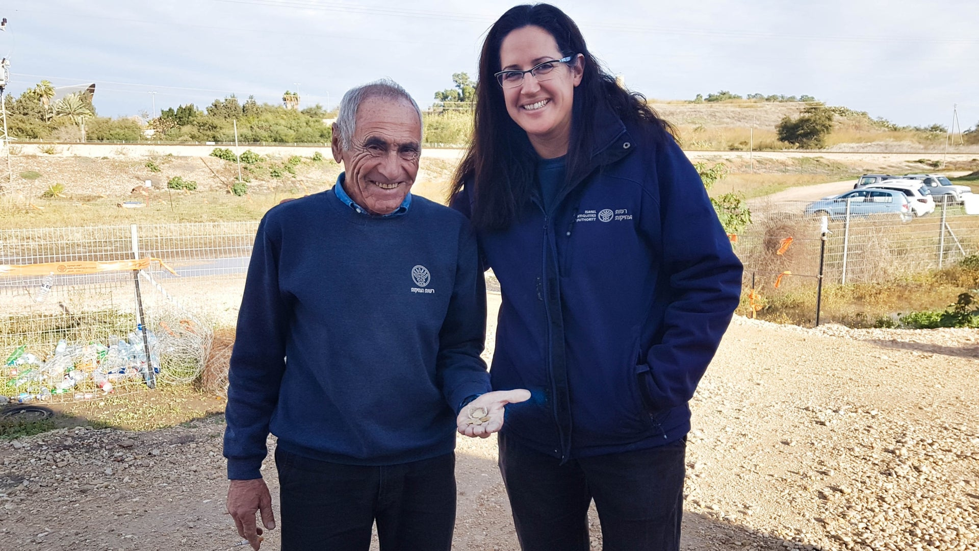 Liat Nadav-Ziv and Marc Molkondov with the hoard