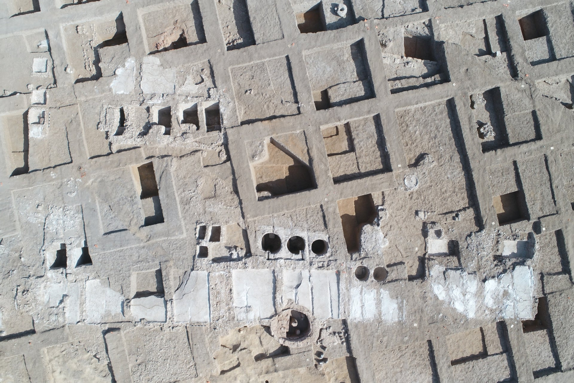 Aeriel image of ancient Yavneh and its industrial winery