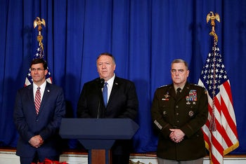 U.S. Secretary of State Mike Pompeo speaks about airstrikes by the U.S. military in Iraq and Syria, at the Mar-a-Lago resort in Palm Beach, Florida, U.S., December 29, 2019.