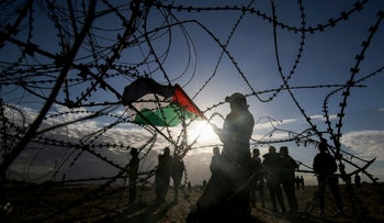Palestinian protesters at the Israel-Gaza border, December 27, 2019