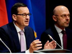 Poland's Prime Minister Mateusz Morawiecki during a press conference during a European Union Summit at the Europa building in Brussels, December 13, 2019.