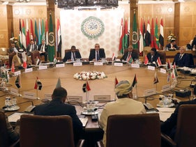Permanent representatives of the Arab League take part in an emergency meeting to discuss Turkey's plans to send military troops to Libya, in Cairo, Egypt, December 31, 2019.