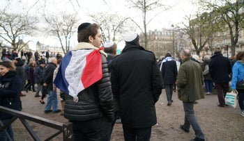 French Jews at a march protestic anti-Semitic violence in Paris, France on March 28, 2018.