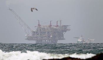 The platform of the Leviathan natural gas field pictured from the Israeli northern coastal town of Dor on December 31, 2019.