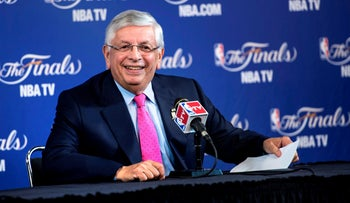In this file photo taken on June 6, 2013 David Stern addresses a press conference prior to  Game 1 of the NBA Finals in Miami, Florida.