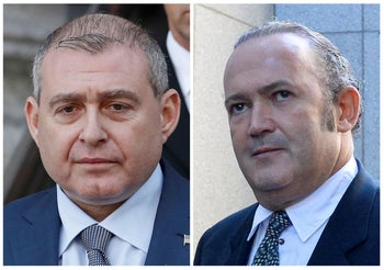 This combination of Oct. 9, 2019, photos provided by the Alexandria Sheriff's Office shows booking photos of Lev Parnas, left, and Igor Fruman. The two business associates of Rudy Giuliani are due in a New York City court in their campaign finance case. Parnas and Fruman were to be arraigned Wednesday, Oct. 23, on charges they conspired to make illegal contributions to political committees supporting President Donald Trump and other Republicans. (Alexandria Sheriff's Office via AP, File)