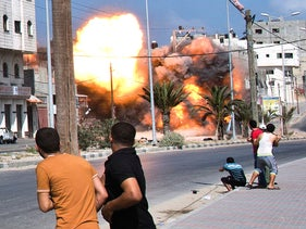 An Israeli air strike on Gaza City, during Operation Defensive Edge, in 2014.