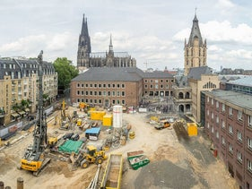 The site in Cologne, Germany, where slates with medieval Hebrew writing were found.