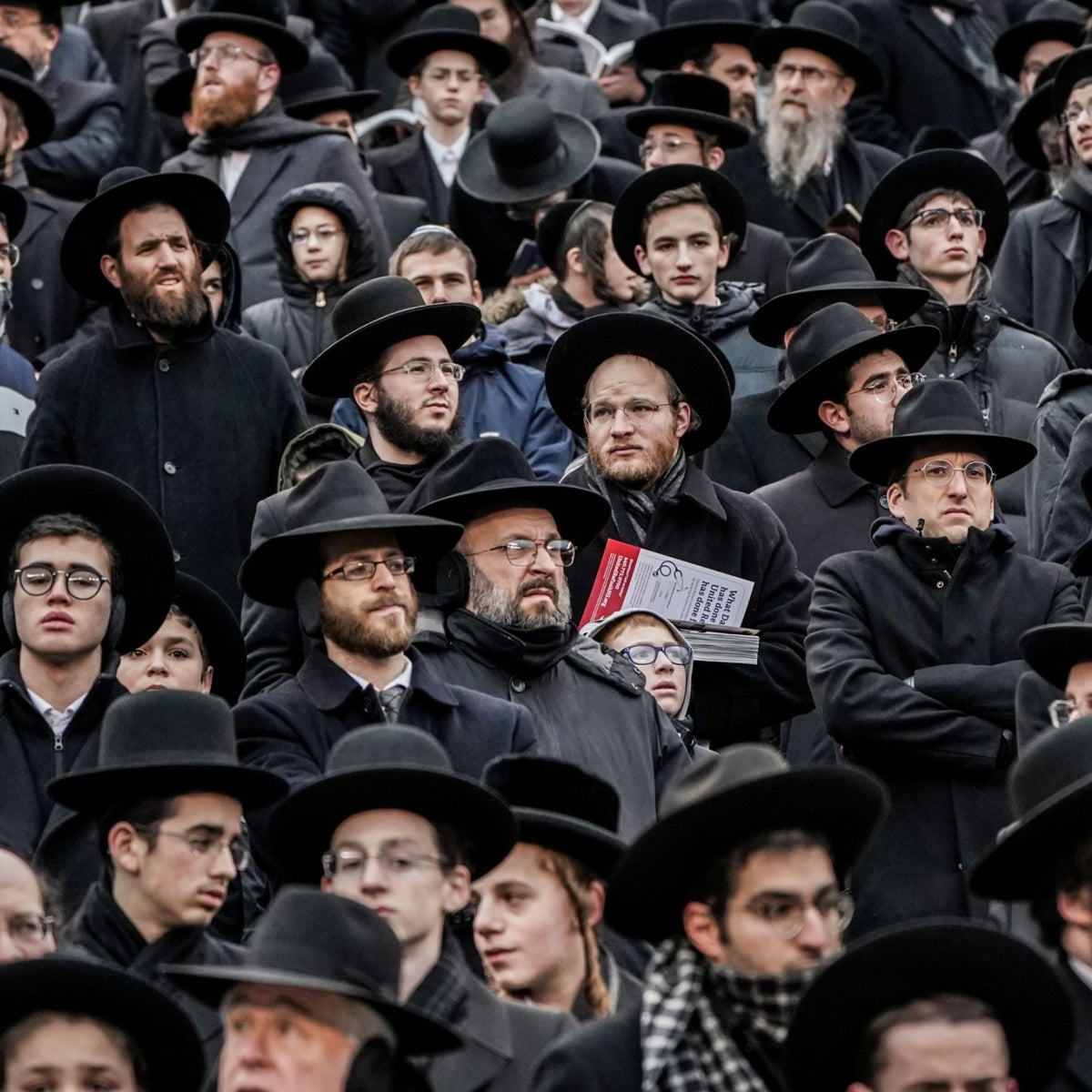 Orthodox Jews take part in Siyum HaShas, a celebration marking the completion of the Daf Yomi, a 7.5-year cycle of studying the Talmud, at the MetLife Stadium in East Rutherford, N.J., Jan. 1, 2020.