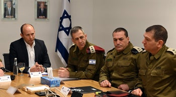 Bennett conducts a security assessment with Kochavi and other senior security officials, January 3, 2019.