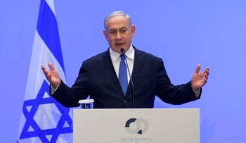Israel's Prime Minister Benjamin Netanyahu speaks during a press conference in Athens on January 2, 2020.