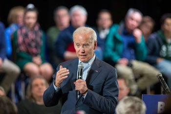 Biden speaks during a campaign Town Hall on December 30, 2019 in Derry, New Hampshire.