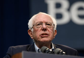 Sanders speaks during a climate summit on November 9, 2019 in Des Moines, Iowa.