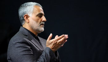 Commander of the Iranian Revolutionary Guard's Quds Force, Gen. Qasem Soleimani, attending a religious ceremony in Tehran, March 27, 2015.