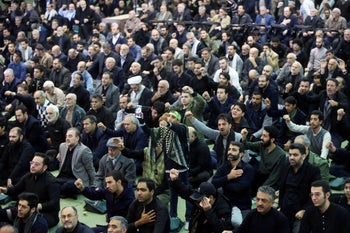 Iranian worshipers chant slogans during Friday prayers against the assassination of the Iranian Major-General Qassem Soleimani, in Tehran, Iran January 3, 2020.