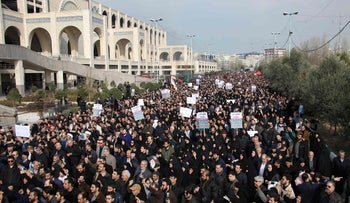 Iranians demonstrating after the United States assassinated Quds force chief Qassem Soleimani, Tehran,   January 3, 2020.