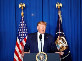 U.S. President Donald Trump delivers remarks following the U.S. Military airstrike against Iranian General Qassem Soleimani in Baghdad, Iraq, in West Palm Beach, FloridaU.S. on January 3, 2020.
