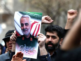 Iranian demonstrators chant slogans during a protest against the killing of Qassem Soleimani, in front of United Nations office in Tehran, Iran, January 3, 2020.