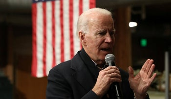 Democratic U.S. presidential candidate and former U.S. Vice President Joe Biden speaks during a town hall in Independence, Iowa, U.S. January 3, 2020.