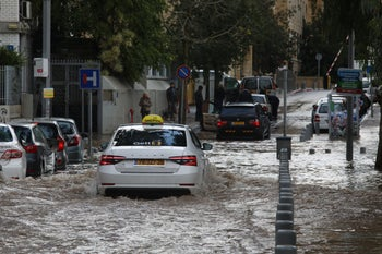 A flooded street in Jaffa, January 4, 2020.