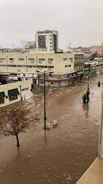 A flooded street in Tel Aviv, January 4, 2020.