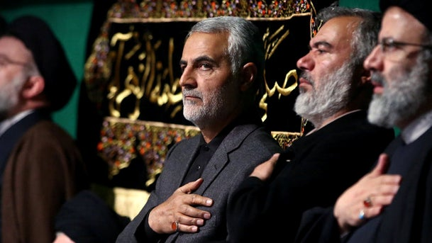Qassem Soleimani (C) attending a formal ceremony with the attendance of Iran's supreme leader Ayatollah Ali Khamenei, 2015.