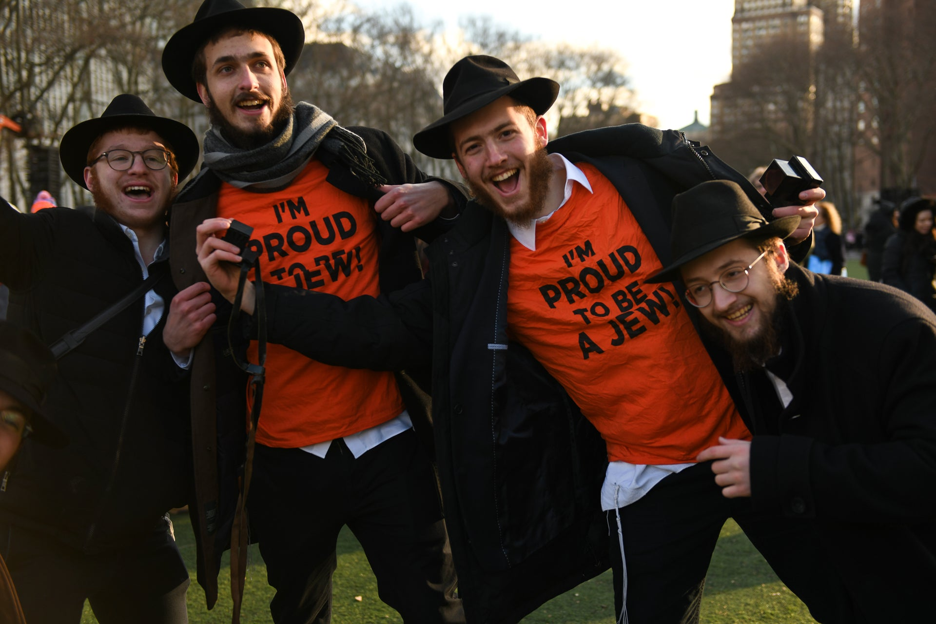 Ultra-Orthodox Jewish men participate in a march against anti-Semitism, New York City, January 5, 2019