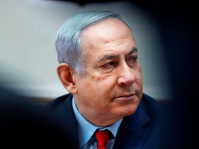 Netanyahu attends the weekly cabinet meeting in Jerusalem on January 5, 2020.