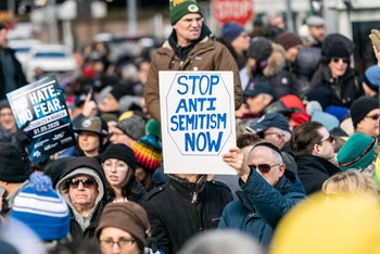 People participating in a Jewish solidarity march against anti-Semitism on January 5, 2020, in New York City.