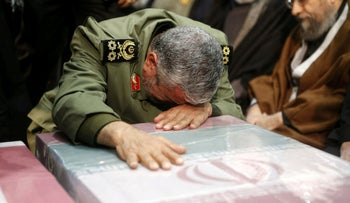 Brigadier General Esmail Ghaani, the newly appointed commander of the country's Quds Force, during the funeral of Qassem Soleimani, in Tehran, Iran January 6, 2020.