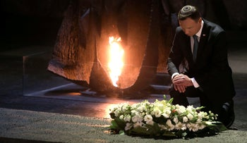 Poland's President Andrzej Duda lays a wreath at the Hall of Remembrance at the Yad Vashem Holocaust memorial in Jerusalem, January 17, 2017