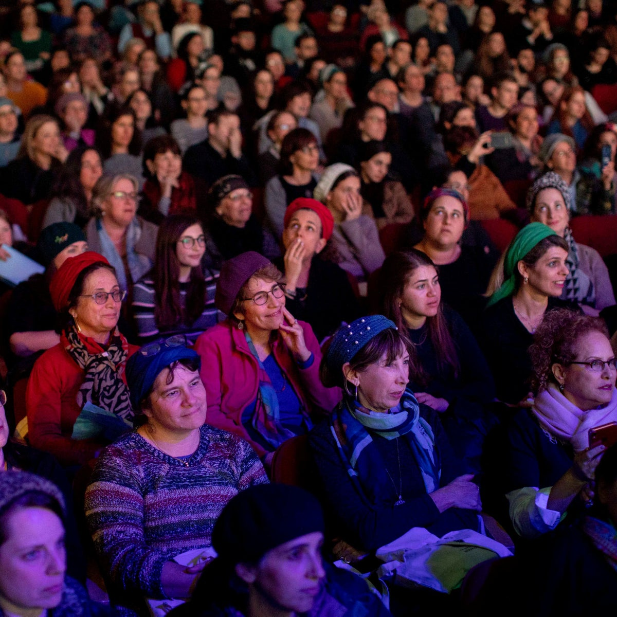 The audience at an event in Jerusalem celebrating the end of the cycle of women reading a page of Talmud every day on January 5, 2020.