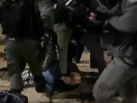 As still from the video showing the arrest and assault of a Palestinian by Israeli police, at the Temple Mount in Jerusalem, January 7, 2020.