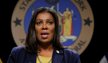 New York State Attorney General Letitia James pictured at a press conference, November 19, 2019