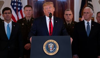 US President Donald Trump speaks about the situation with Iran in the Grand Foyer of the White House in Washington, DC, January 8, 2020