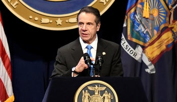 New York Gov. Andrew Cuomo delivers his State of the State address at the Empire State Plaza Convention Center in Albany, N.Y. January 8, 2020.