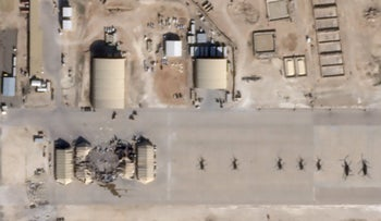 What appears to be new damage at Al Asad air base in Iraq is seen in a satellite picture taken January 8, 2020