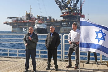Israeli Prime Minister Benjamin Netanyahu with Energy Minister Yuval Steinitz at the Leviathan natural gas field , January 31, 2019