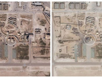 A collage of two satellite pictures of Al Asad air base in Iraq from December 25, 2019 (L) and January 8, 2020 (R) appear to show recent damage from Iranian air strikes on U.S. military infrastructure