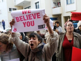 Israeli Activists take part in a demonstration, after a British woman was found guilty of faking a rape claim, outside the Famagusta courthouse in Paralimni, Cyprus January 7, 2020.