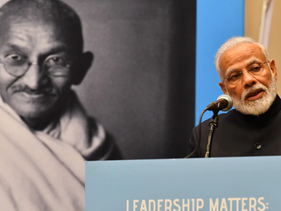 Indian Prime Minister Narendra Modi speaks about Mahatma Gandhi at the United Nations during the 150th anniversary year of Gandhi's birth. 25 Sept 2019
