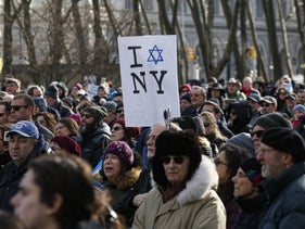 "People participate in the ""No Hate. No Fear."" march in Brooklyn, New York, January 5, 2020."