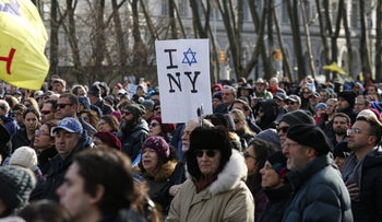 """People participate in the """"No Hate. No Fear."""" march in Brooklyn, New York, January 5, 2020."""