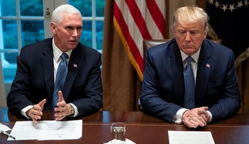 President Donald Trump and Vice President Mike Pence in the Cabinet Room of the White House, December 16, 2019.