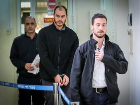 Left-wing activist and Haaretz employee Jonathan Pollak arrives at the Jerusalem Magistrate's Court, January 2019.