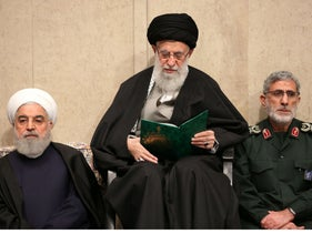 Supreme Leader Ayatollah Ali Khamenei alongside President Hassan Rohani and the newly-appointed commander of the Quds Force of the Islamic Revolutionary Guard Corps Esmail Qaani, January 9, 2020.