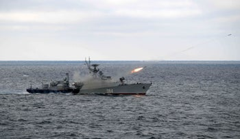 Russian anti-submarine corvette Muromets fires during the joint drills of the Northern and Black Sea fleets in the Black Sea, off the coast of Crimea, January 9, 2020.