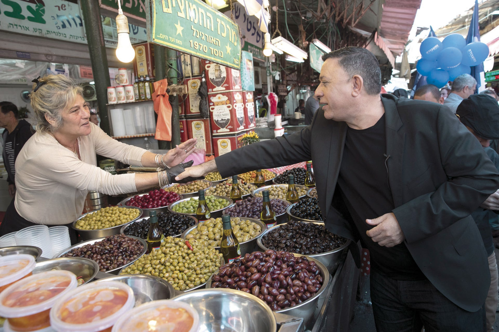 Avi Gabbay at Carmel Market in Tel Aviv.