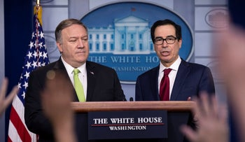 U.S. Secretary of State Mike Pompeo, left, and Treasury Secretary Steve Mnuchin brief reporters about additional sanctions placed on Iran, at the White House, January 10, 2020.